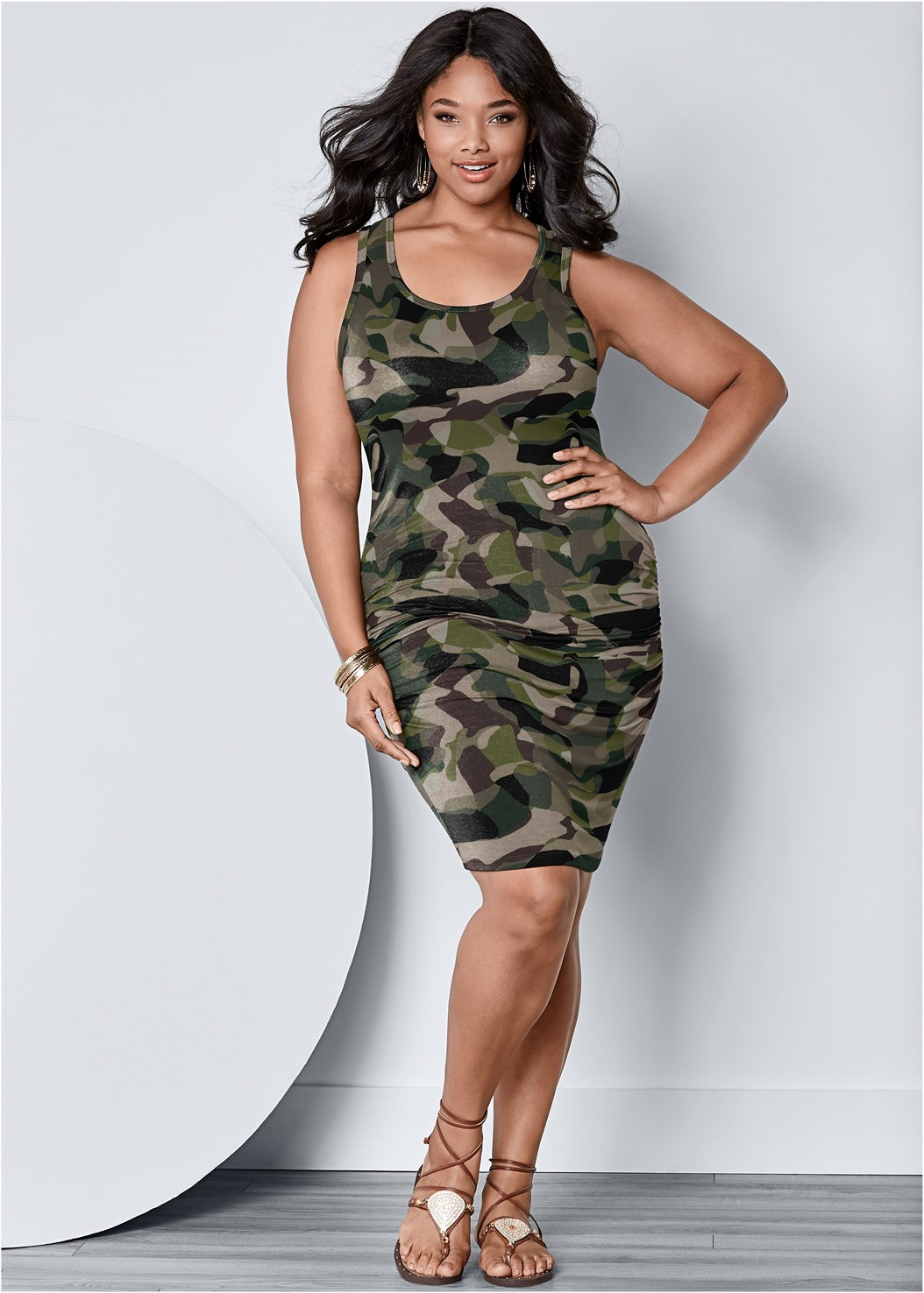 Sleeveless Ruched Bodycon Midi Dress,Lace Up Gladiator Sandals