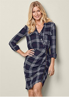 ruched detail plaid dress