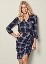 Front View Ruched Detail Plaid Dress