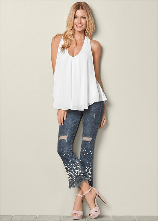 PEARL DETAIL JEANS,RUFFLE FRONT TANK