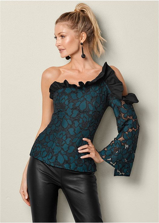 COLD SHOULDER RUFFLE TOP,FAUX LEATHER LEGGINGS,BAUBLE HOOP EARRINGS