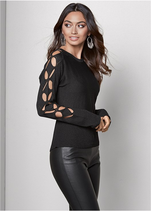 SLEEVE DETAIL SWEATER,FAUX LEATHER LEGGINGS,PERFORATED LACE UP HEEL,HOOP TASSEL DROP EARRINGS