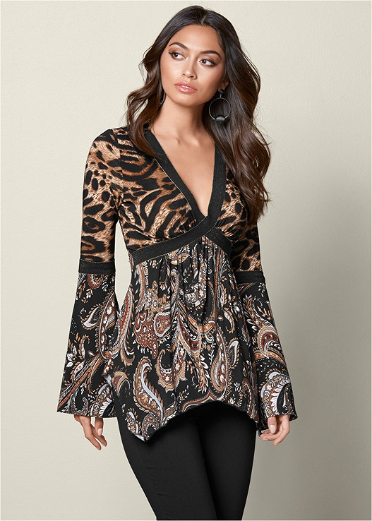 PRINTED BELL SLEEVE TOP,SLIMMING STRETCH JEGGINGS,EXAGGERATED SLEEVE BODYSUIT