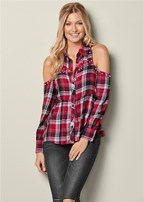 pearl detail plaid top