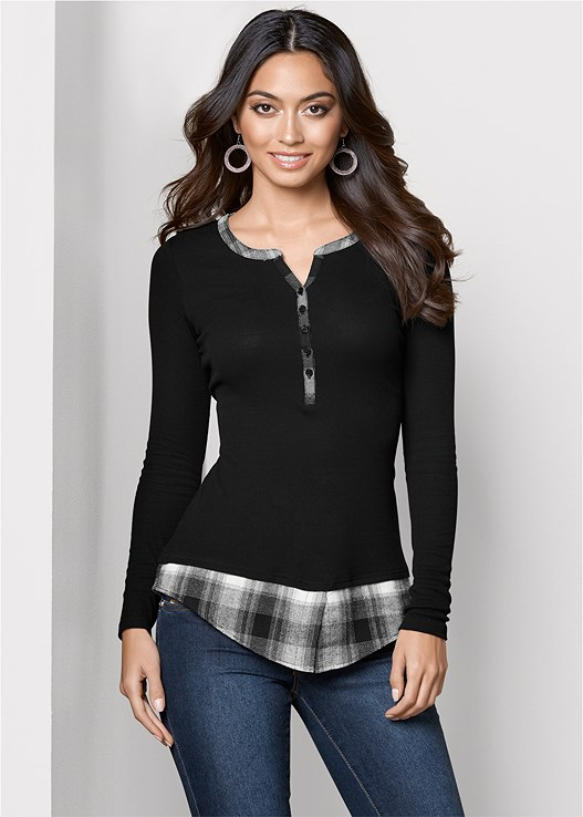 RIBBED HENLEY TOP,COLOR SKINNY JEANS,OVER THE KNEE STRETCH BOOT,MESH HOOP EARRINGS