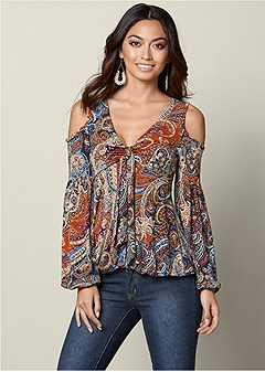 cold shoulder paisley top