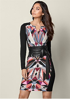 belted print dress