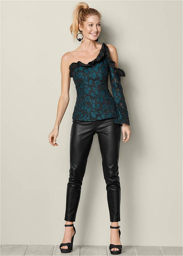 FRONT VIEW Cold Shoulder Ruffle Top
