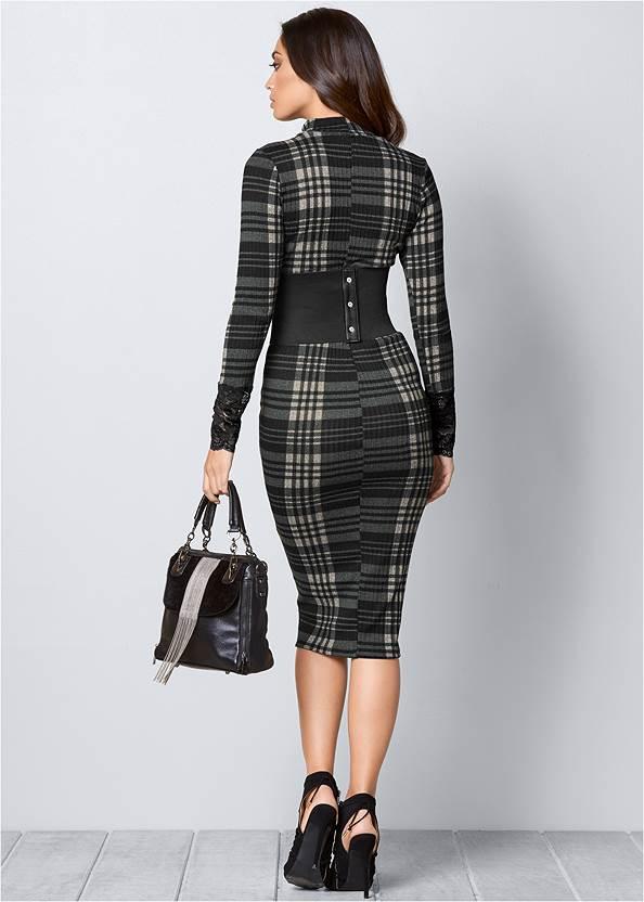 BACK VIEW Lace Detail Bodycon Dress