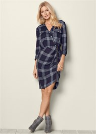 Alternate View Ruched Detail Plaid Dress
