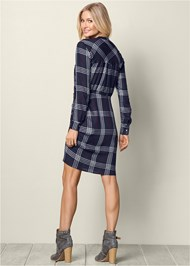 Back View Ruched Detail Plaid Dress