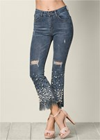 pearl detail jeans