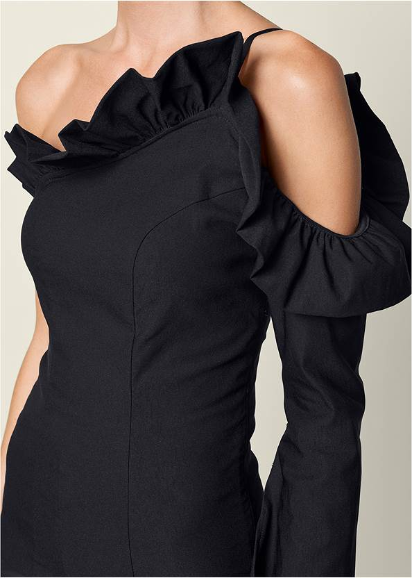 Alternate View Cold Shoulder Ruffle Top