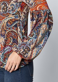 ALTERNATE VIEW Cold Shoulder Paisley Top