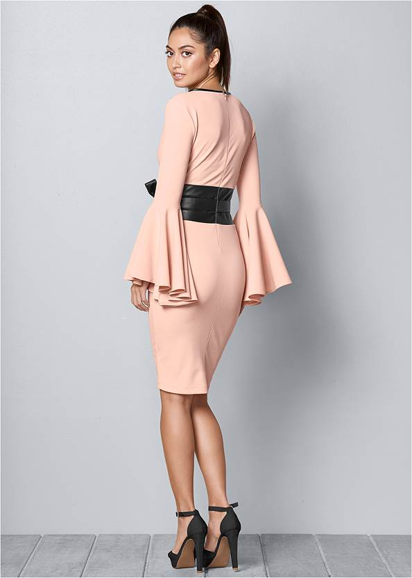 BACK VIEW Sleeve Detail Belted Dress