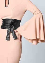 ALTERNATE VIEW Sleeve Detail Belted Dress