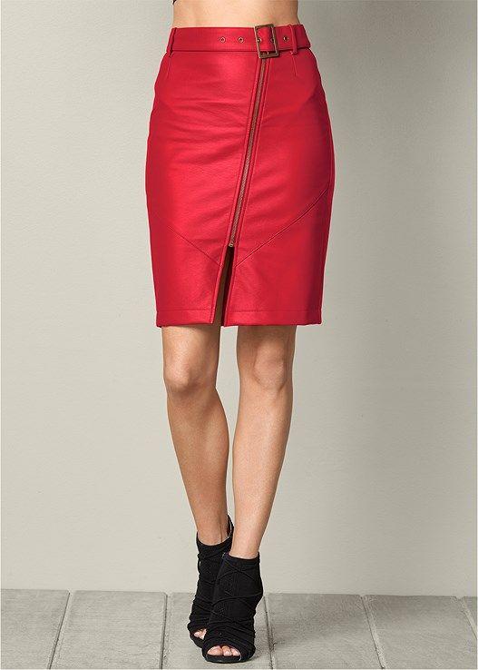 845e32b65 Red BELTED FAUX LEATHER SKIRT   VENUS