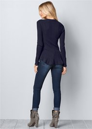 Back View Zipper Front Peplum Sweater