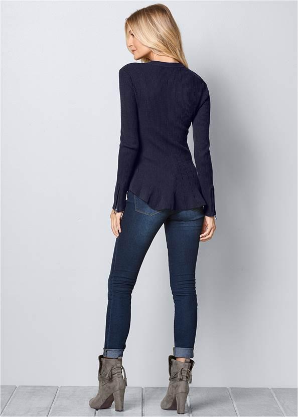 Back View Zipper Front Peplum Sweater