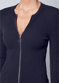 Alternate View Zipper Front Peplum Sweater