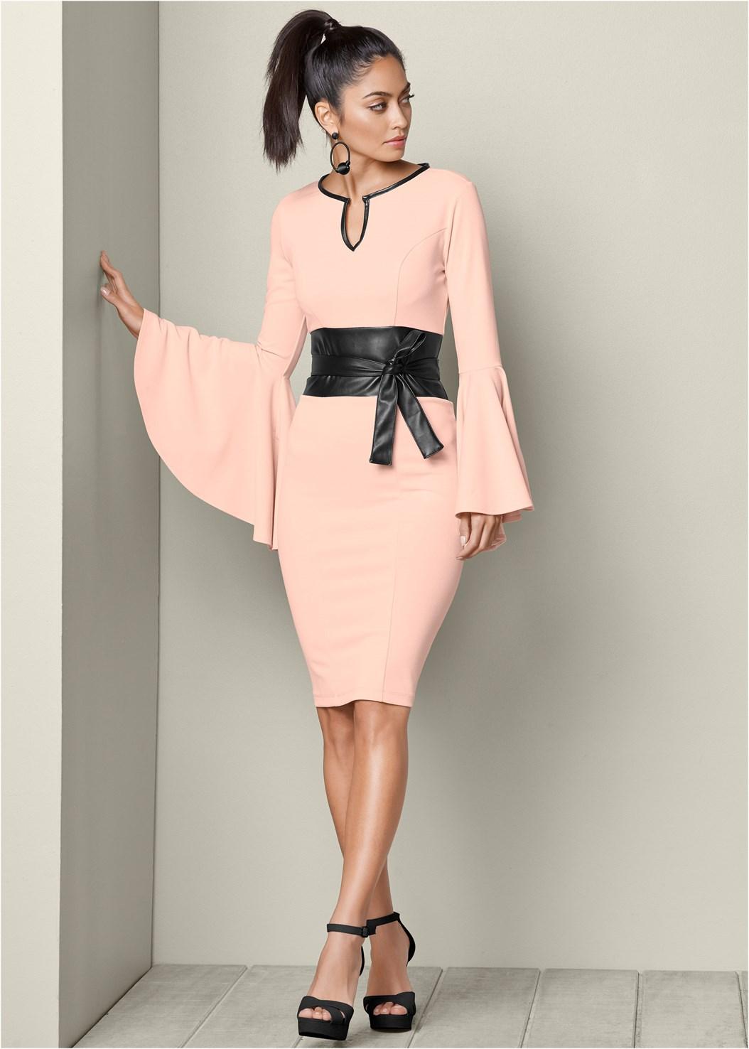 Sleeve Detail Belted Dress,Confidence Seamless Dress,Bauble Hoop Earrings