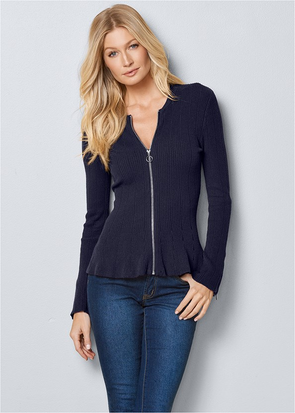 Zipper Front Peplum Sweater,Mid Rise Color Skinny Jeans,Bum Lifter Jeans,Lace Up Tall Boots,Slouchy Mid-Calf Boot