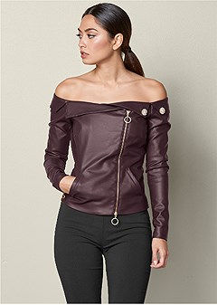 faux leather zipper top