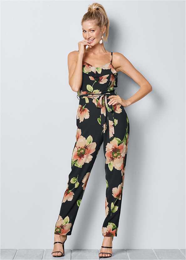 Floral Print Jumpsuit,High Heel Strappy Sandals
