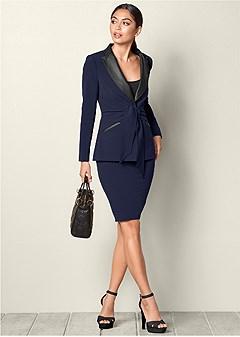 tie detail skirt suit set