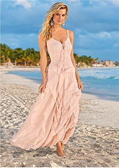 3409ba2903442 LACE UP RUFFLE MAXI DRESS in Light Pink | VENUS