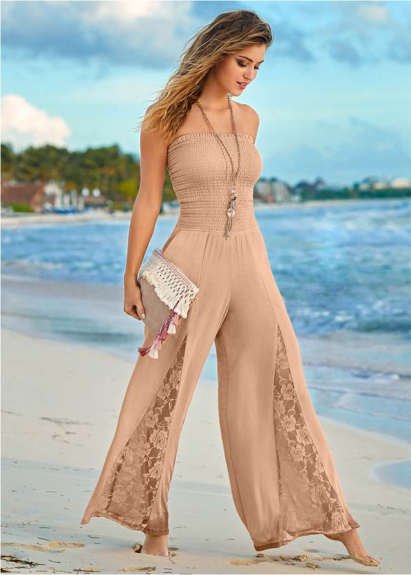 Front View Lace Inset Smocked Jumpsuit