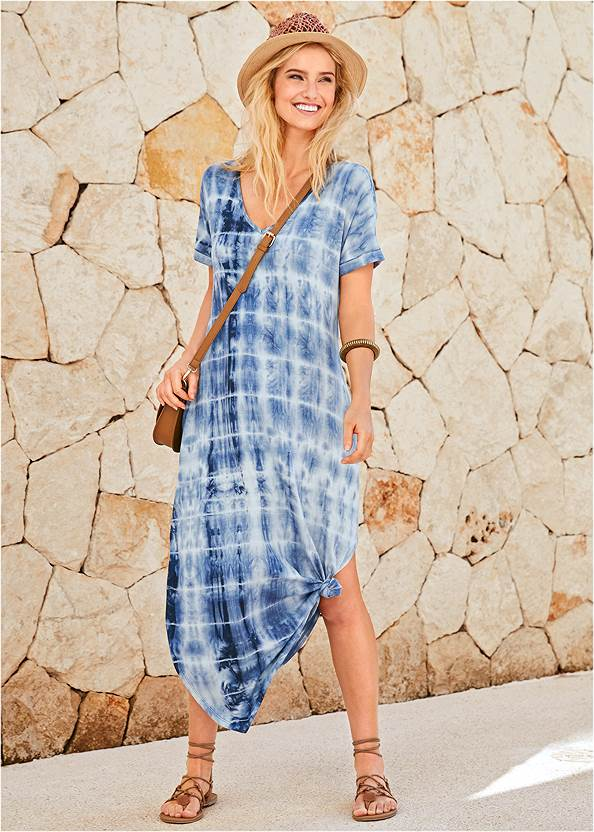 Casual T-Shirt Maxi Dress,Knotted Casual Dress,Peep Toe Booties,Whipstitch Peep Toe Booties,Boho Chandelier Earrings