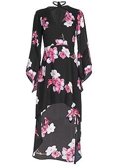 plus size high low print dress
