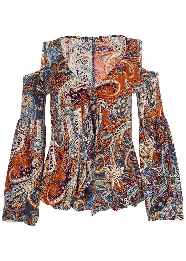 Alternate View Cold-Shoulder Paisley Top