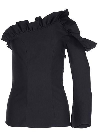 Plus Size Cold Shoulder Ruffle Top