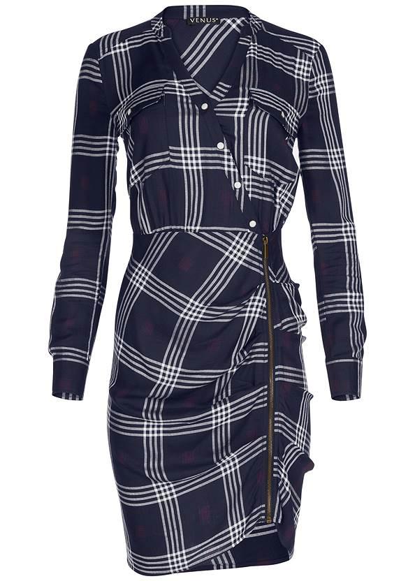 Alternate View Ruched Detail Plaid Dress
