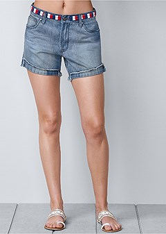 plus size waistband detail shorts