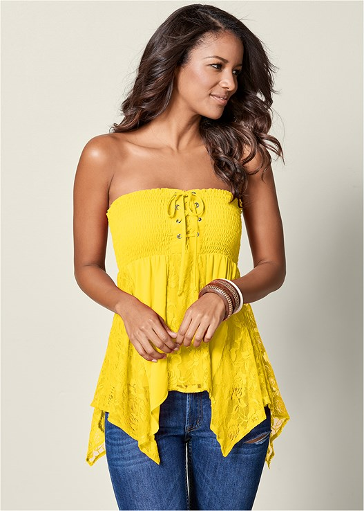 LACE INSET SMOCKED TOP,DEEP CUFF JEANS,EMBELLISHED ROPE SANDALS