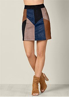 faux suede patchwork skirt