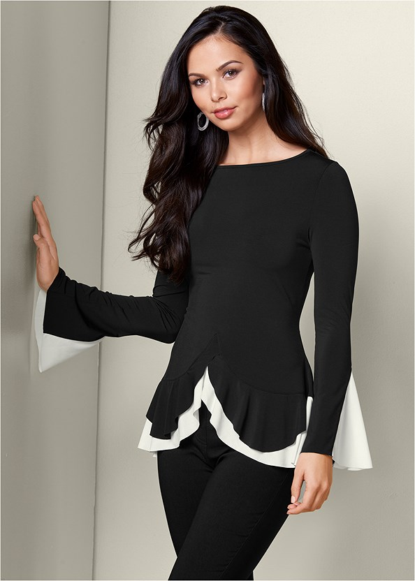 Long Sleeve Flounce Top,Mid Rise Slimming Stretch Jeggings,High Heel Strappy Sandals