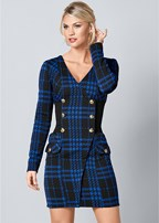 plaid button detail dress