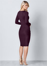 Back View Ruched Detail Midi Dress