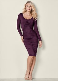 Front View Ruched Detail Midi Dress