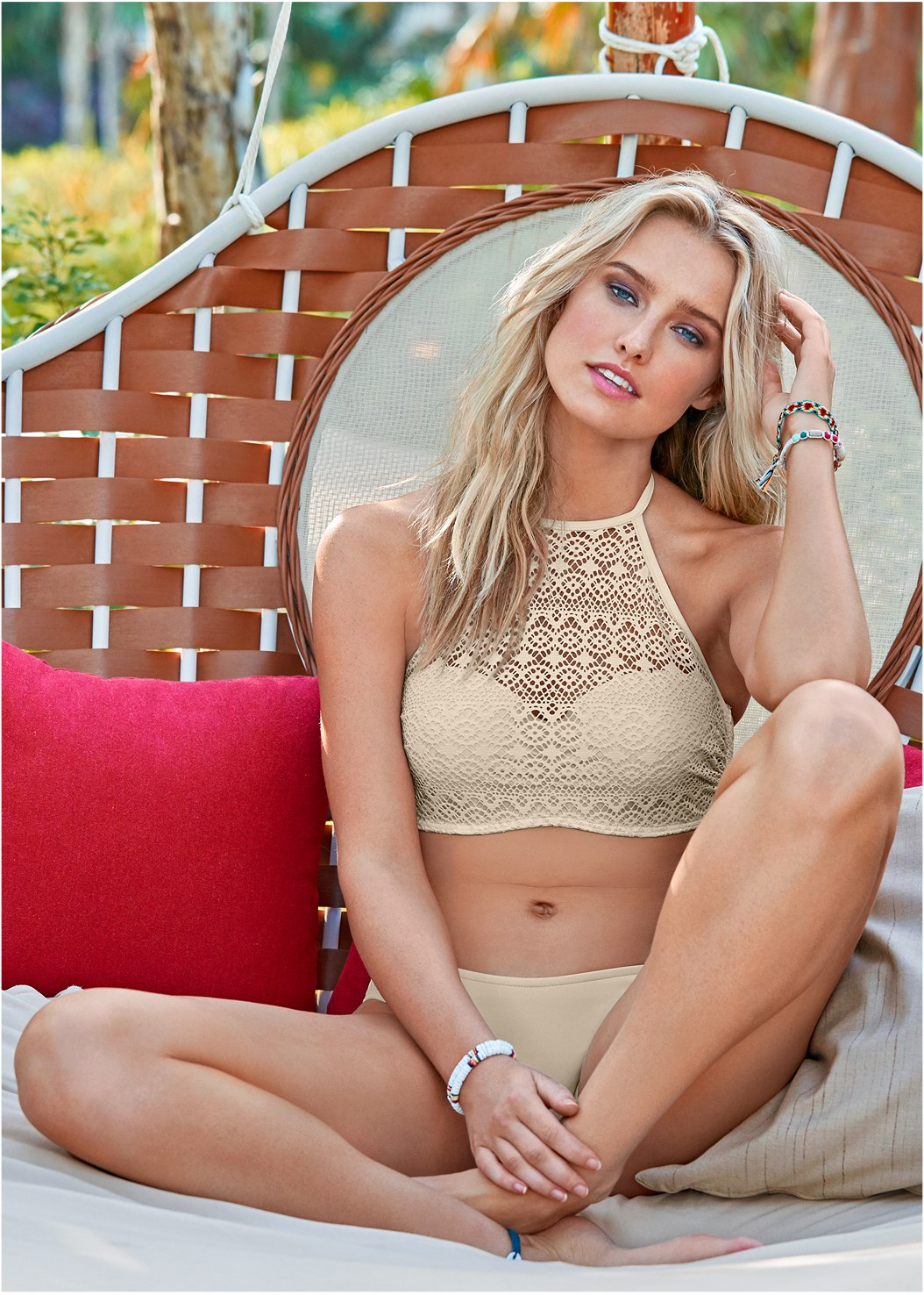Crochet High Neck Halter Top,Scoop Front Classic Bikini Bottom ,Low Rise Classic Bikini Bottom ,Sheer Cover-Up Dress