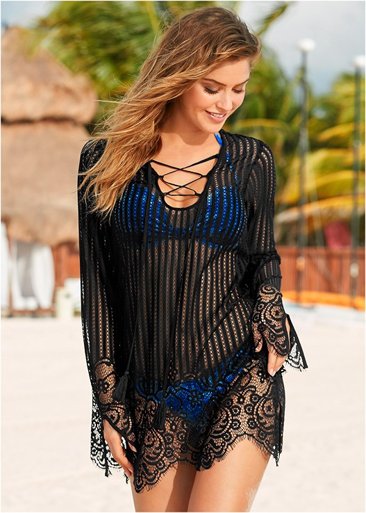 29f587f709 LACE UP CROCHET COVER-UP in Black | VENUS