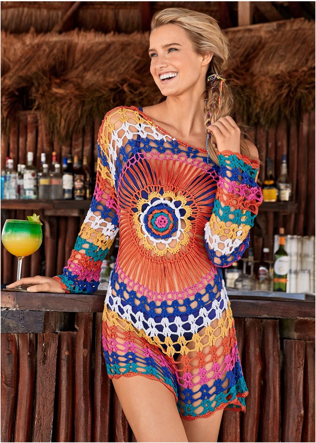 Crochet Detail Cover-Up,Underwire Ring Top,Triangle String Bikini Top,Scoop Front Bikini Bottom