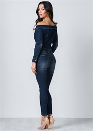 Back View Off Shoulder Denim Jumpsuit