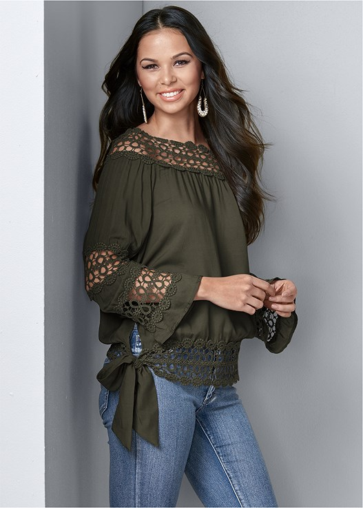 333b730c59 CROCHET SIDE TIE TOP in Olive