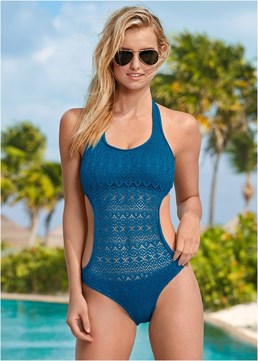 CROCHET MONOKINI,COLD SHOULDER COVER-UP