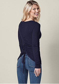 ruched back long sleeve top